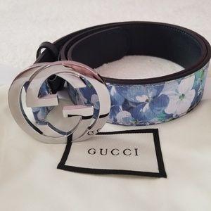 GG Blue Flower Floral belt / G u c c i